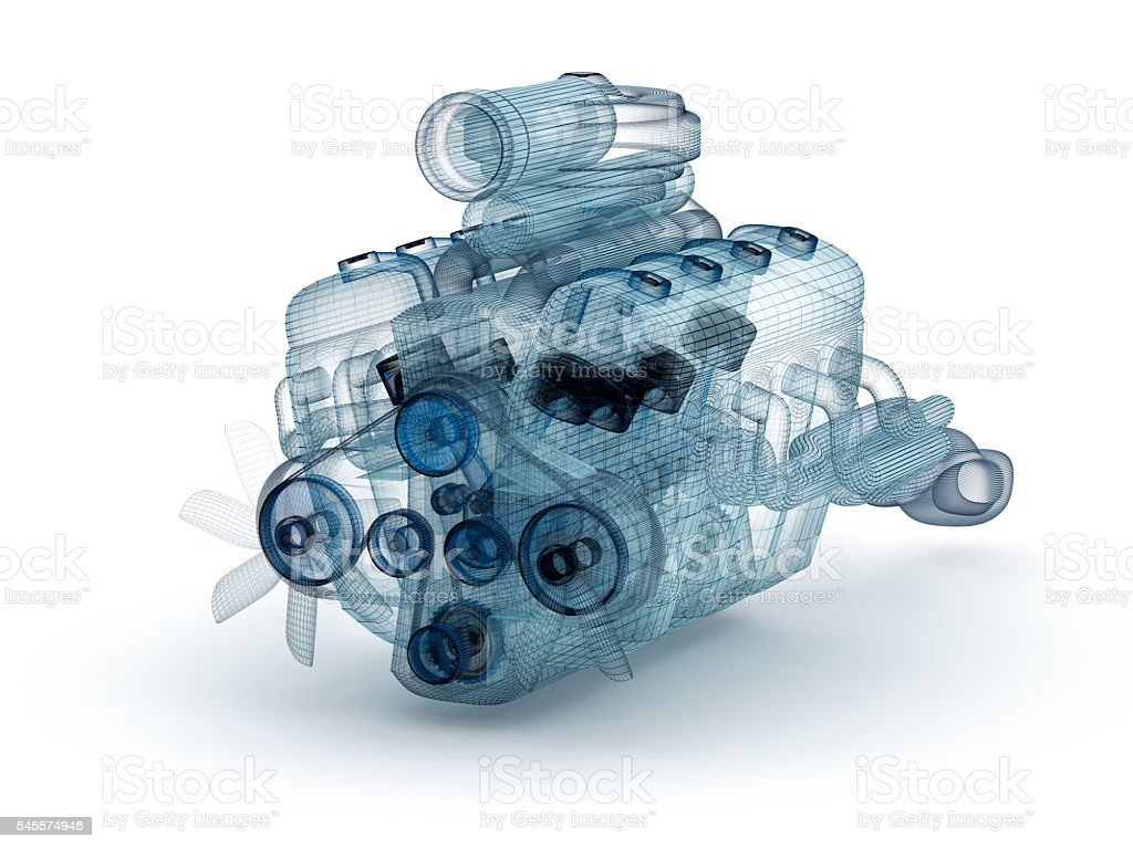 Wire model of engine with turbocharger over white. stock photo