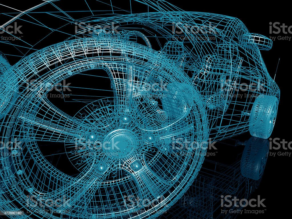 Wire outline of a car model on a black background stock photo