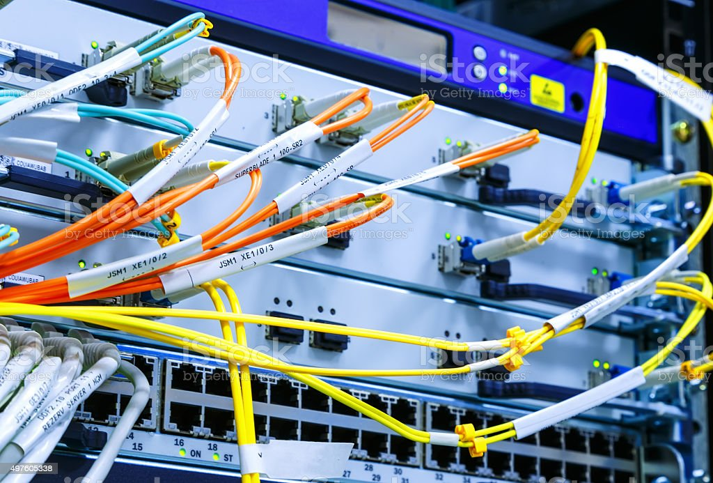 wire rack router mainframe in the data center stock photo