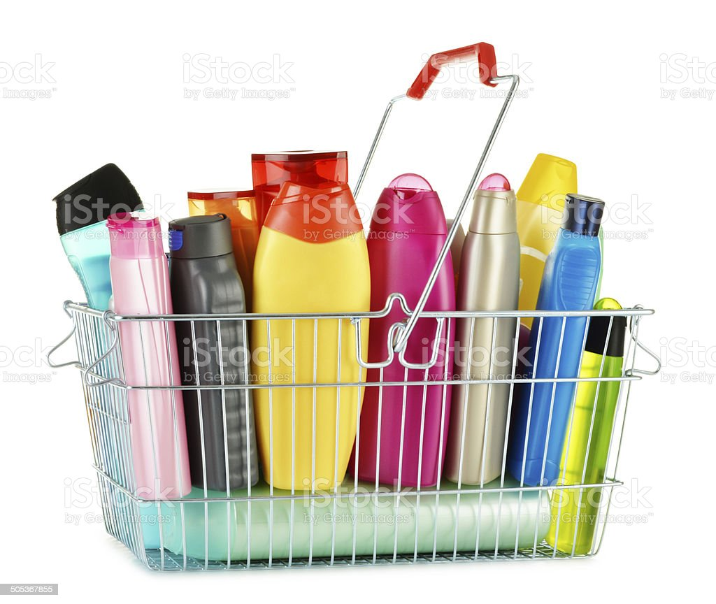 Wire shopping basket with body care and beauty products stock photo