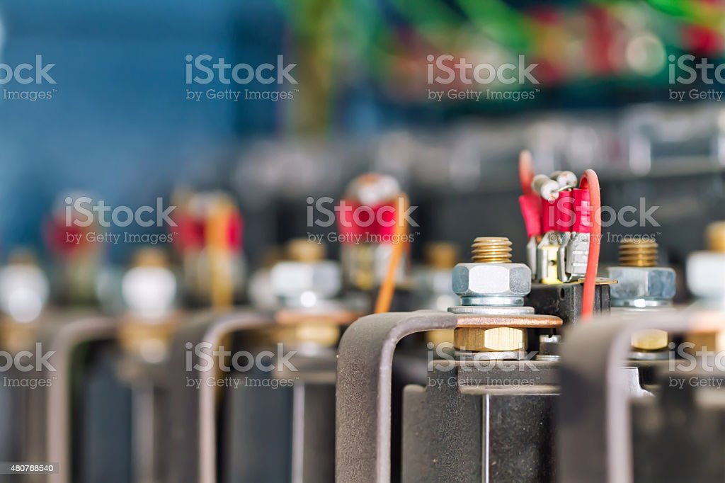 wire, terminals, transistors and capacitors stock photo