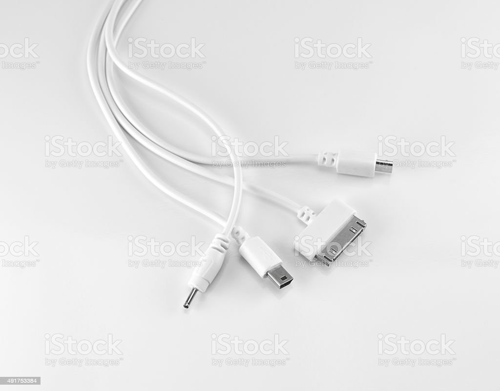 Wire usb mobile charging. stock photo