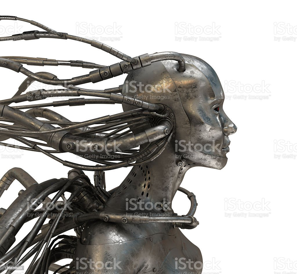 Wired cyborg royalty-free stock photo