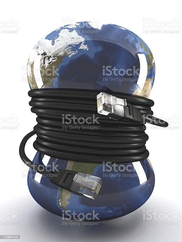 Wired earth vector art illustration