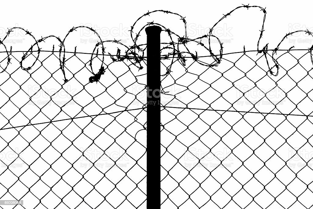 wired fence with barbed wire royalty-free stock photo