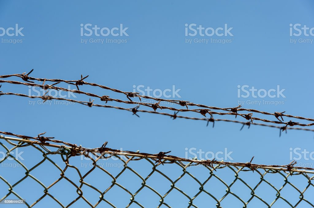 Wired fence with barbed wires stock photo