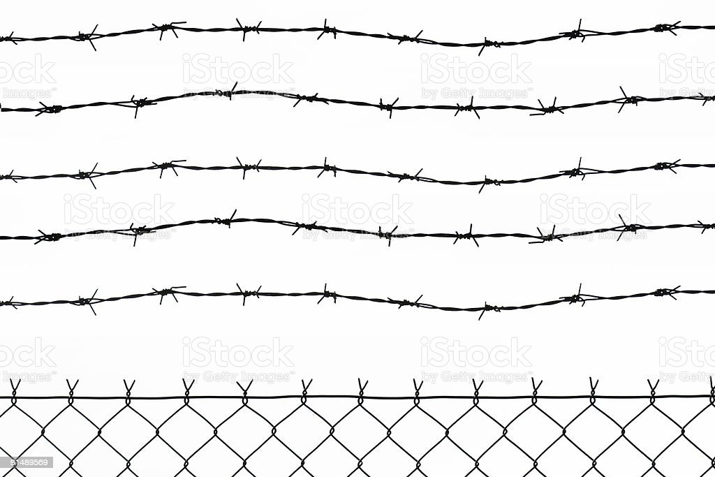 wired fence with five barbed wires royalty-free stock photo
