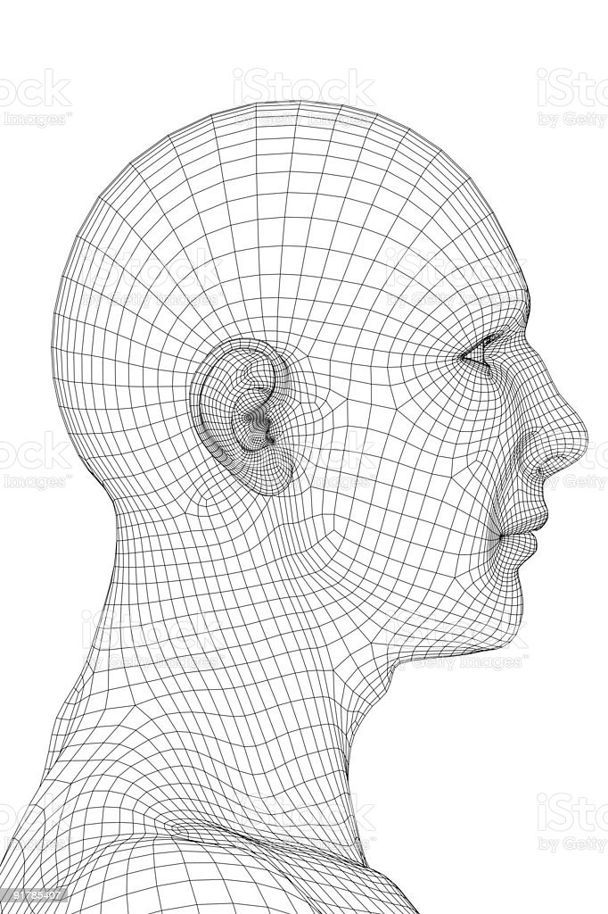 Wired Human Face stock photo