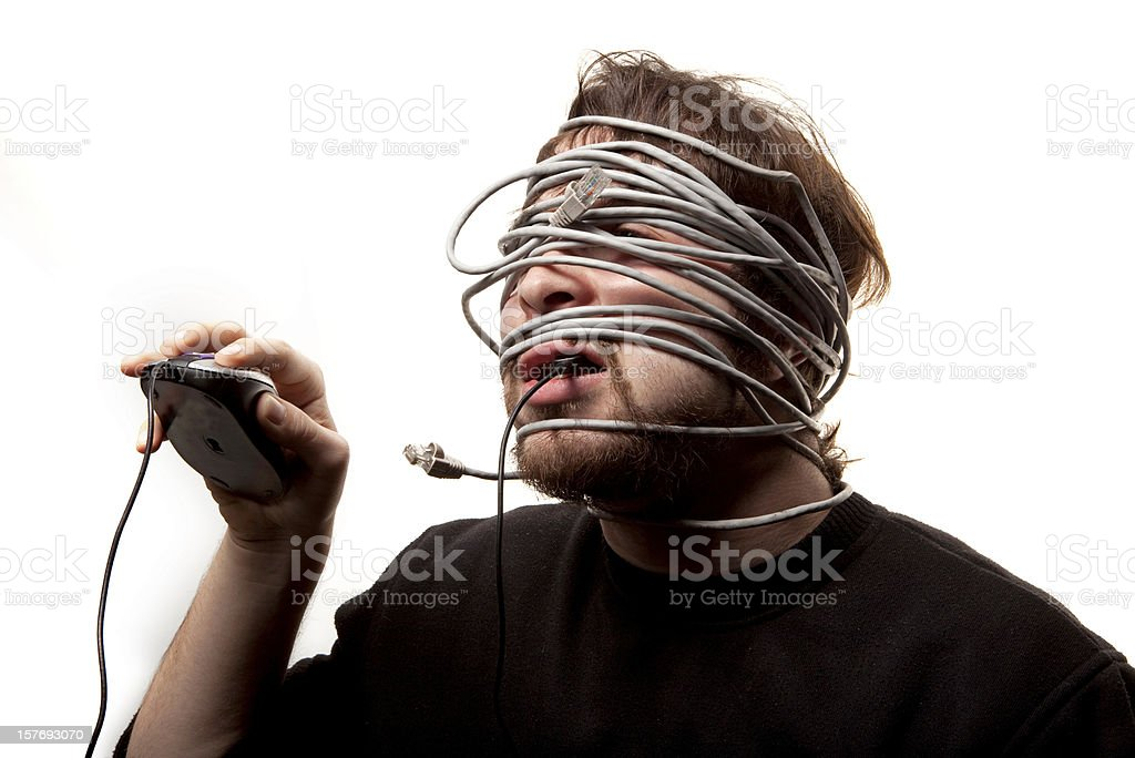 Wired man royalty-free stock photo
