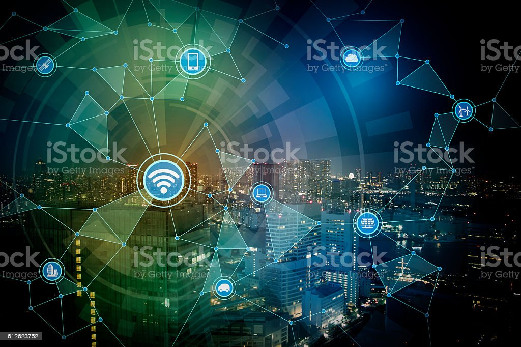 wired network concept icons, information communication technology stock photo