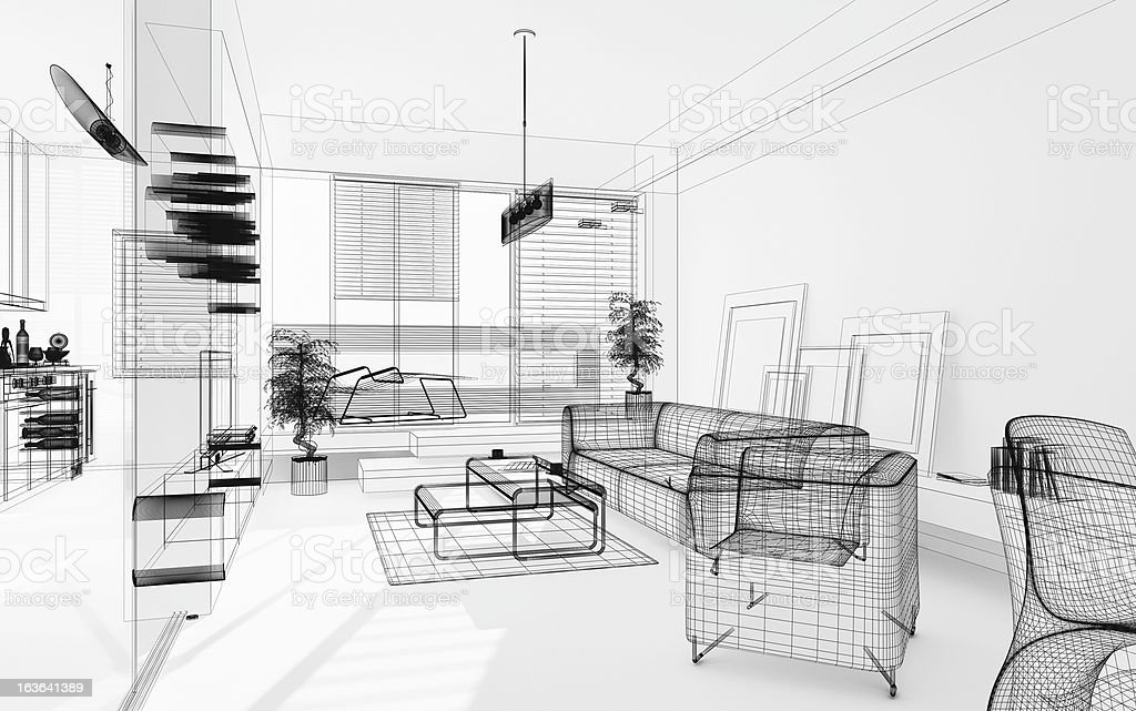 Wireframe 3D Modern Interior. Blueprint. Render Image. Architecture Abstract. stock photo