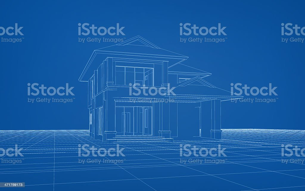 Wireframe 3D rendering of house royalty-free stock photo