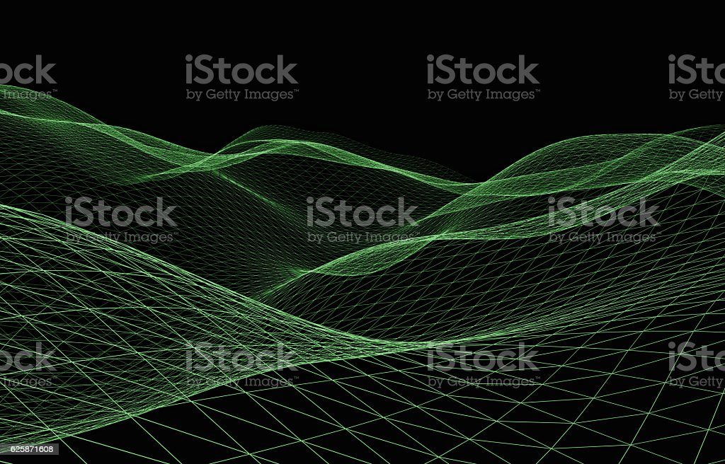 Wireframe - a skeletal three-dimensional model in which only lin stock photo