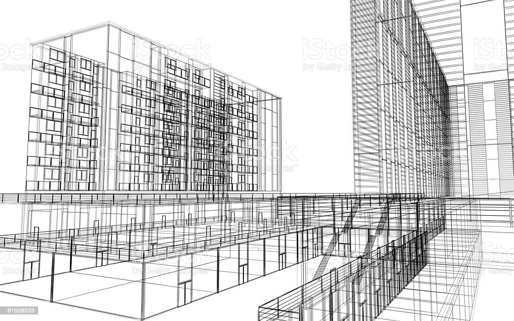 Wireframe Architecture (on-white) royalty-free stock photo