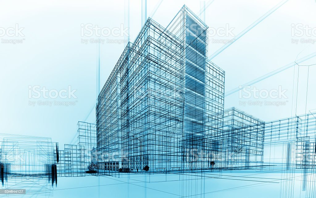 wireframe buildings stock photo