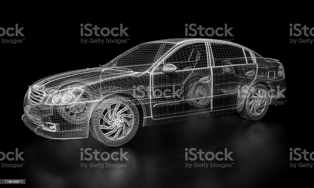 Wireframe Car stock photo