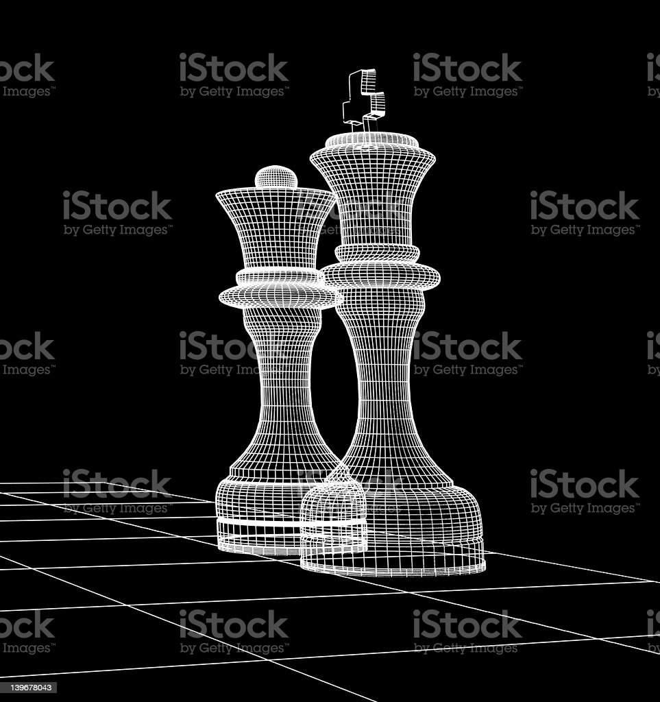 wireframe chess stock photo