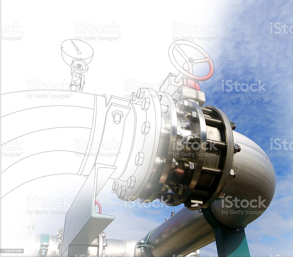wireframe computer cad design of pipelines and valves against bl stock photo