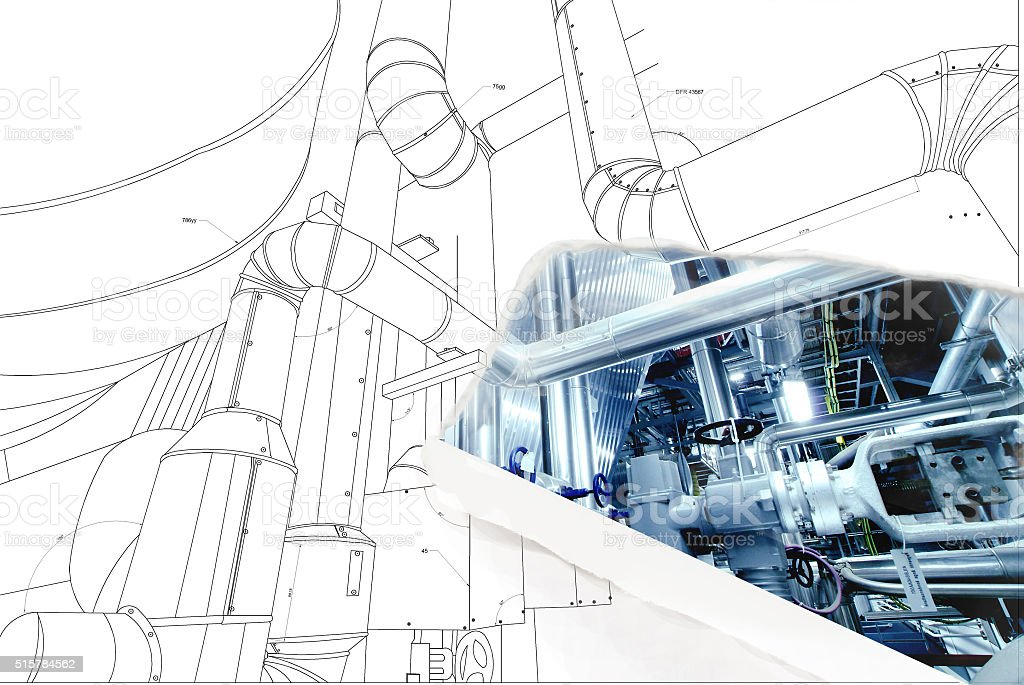wireframe computer cad design of pipelines for modern industrial stock photo