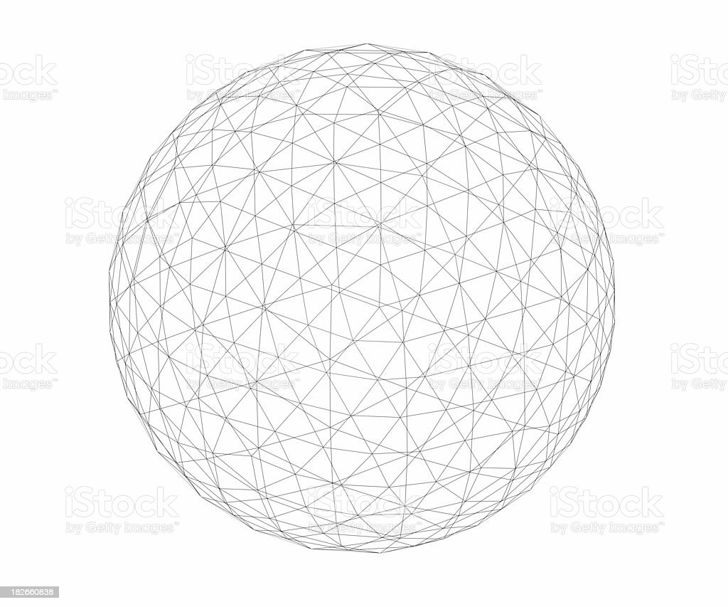 Wireframe - Geosphere - Low Polygon Count stock photo