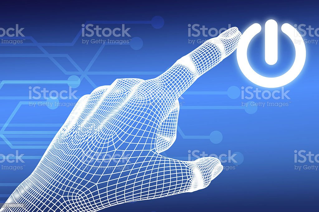 wireframe Hand pressing power button royalty-free stock photo