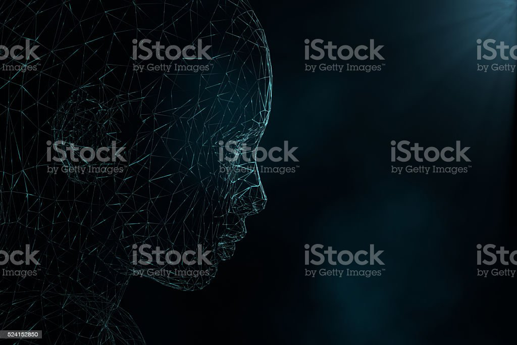 Wireframe head looking ahead stock photo