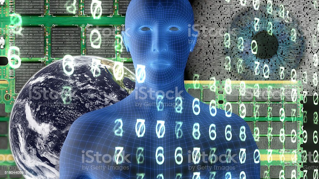 Wireframe man, computer chips and Earth with binary code and   numbers stock photo
