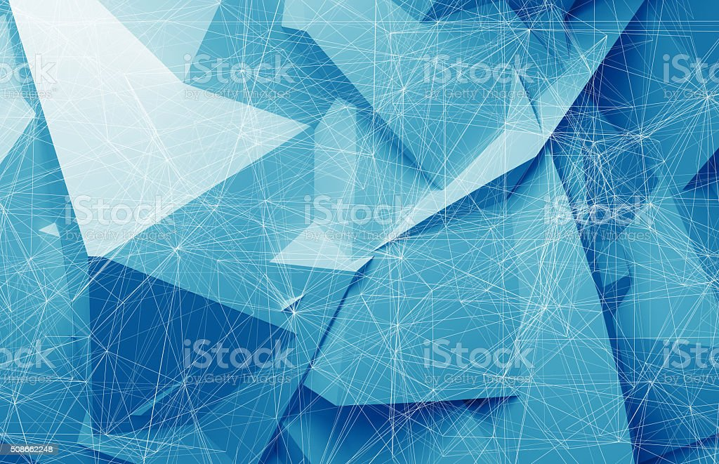 Wire-frame mesh over blue polygonal background, 3d stock photo