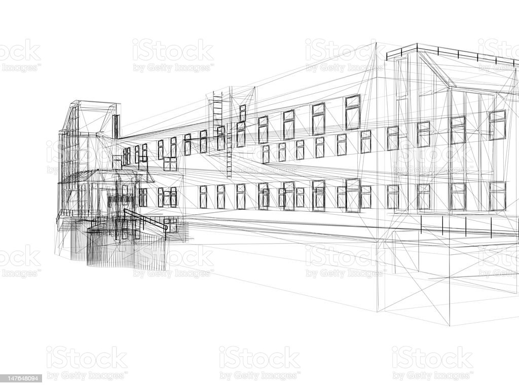 3D Wireframe of  commercial or residential building 02 royalty-free stock photo