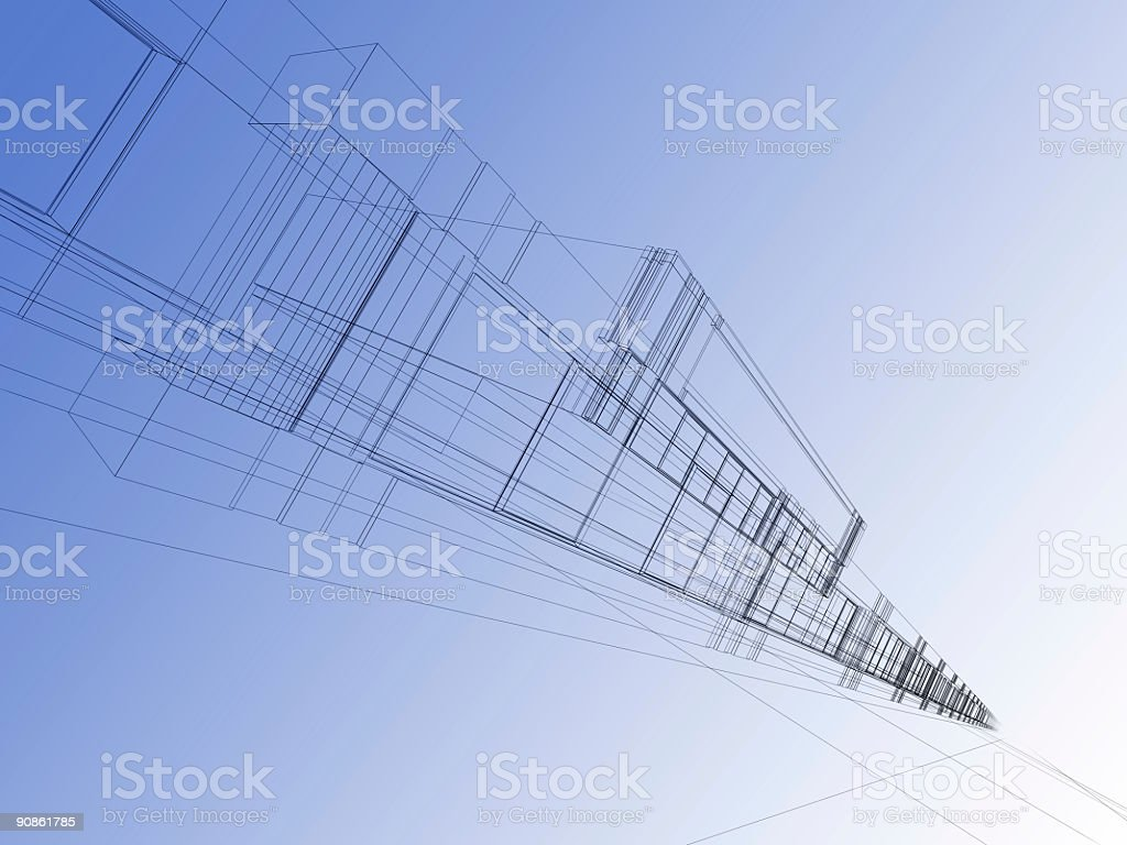wireframe of office building royalty-free stock photo