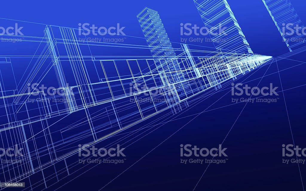 wireframe of office buildings royalty-free stock photo
