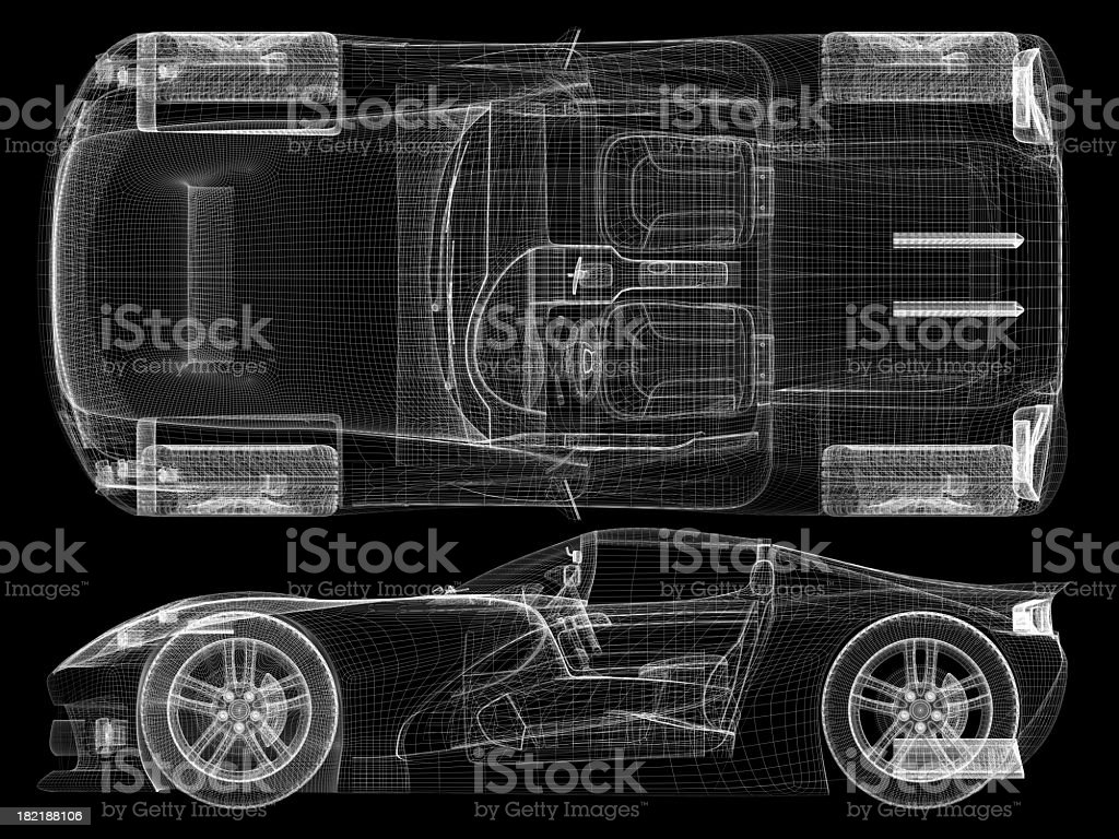 Wireframe representation of a sports car stock photo