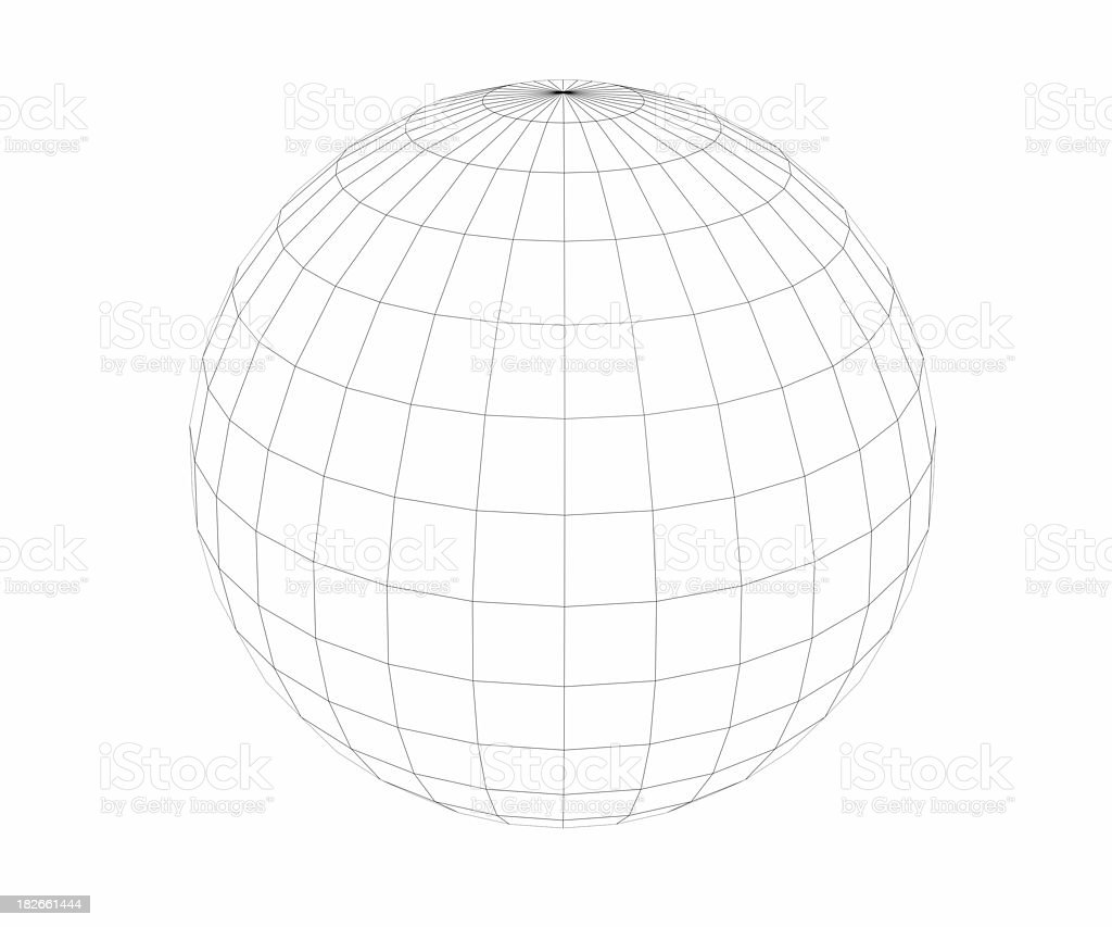 Wireframed - Sphere - Low polygon Count royalty-free stock photo