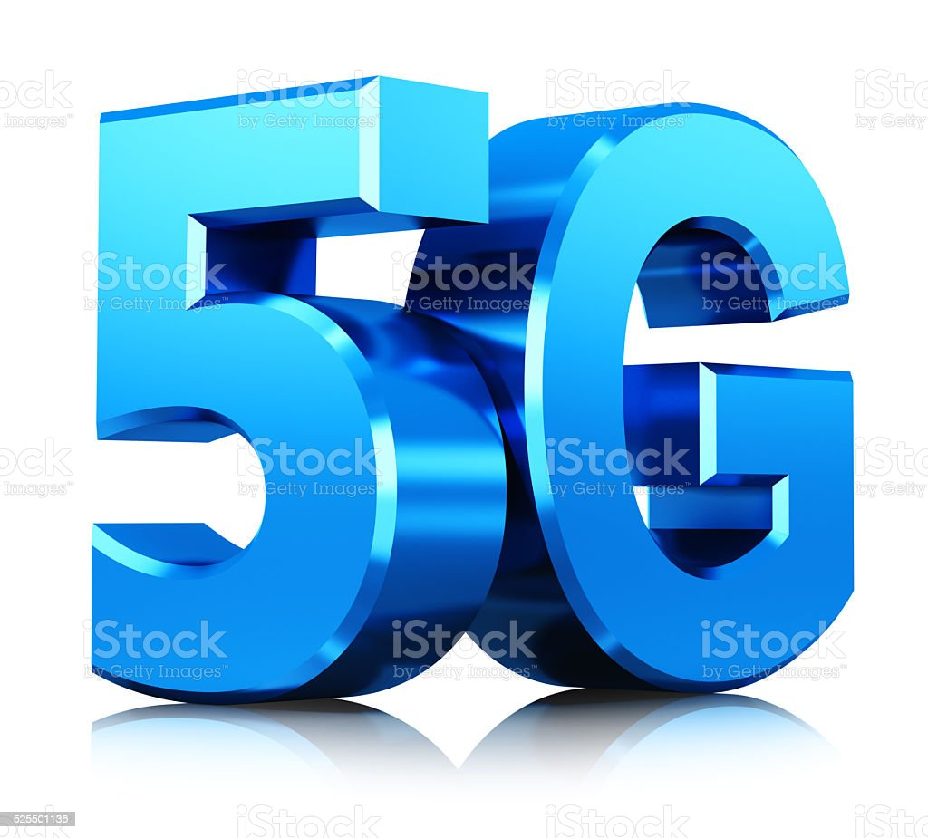 Wireless 5G communication technology symbol stock photo