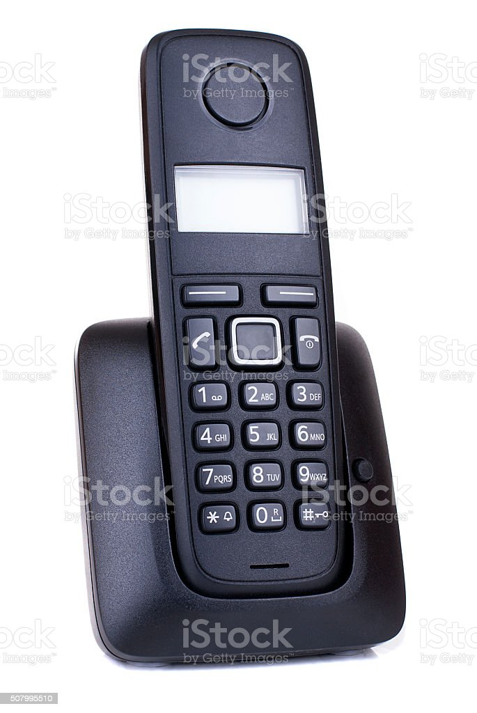 Wireless black telephone stock photo