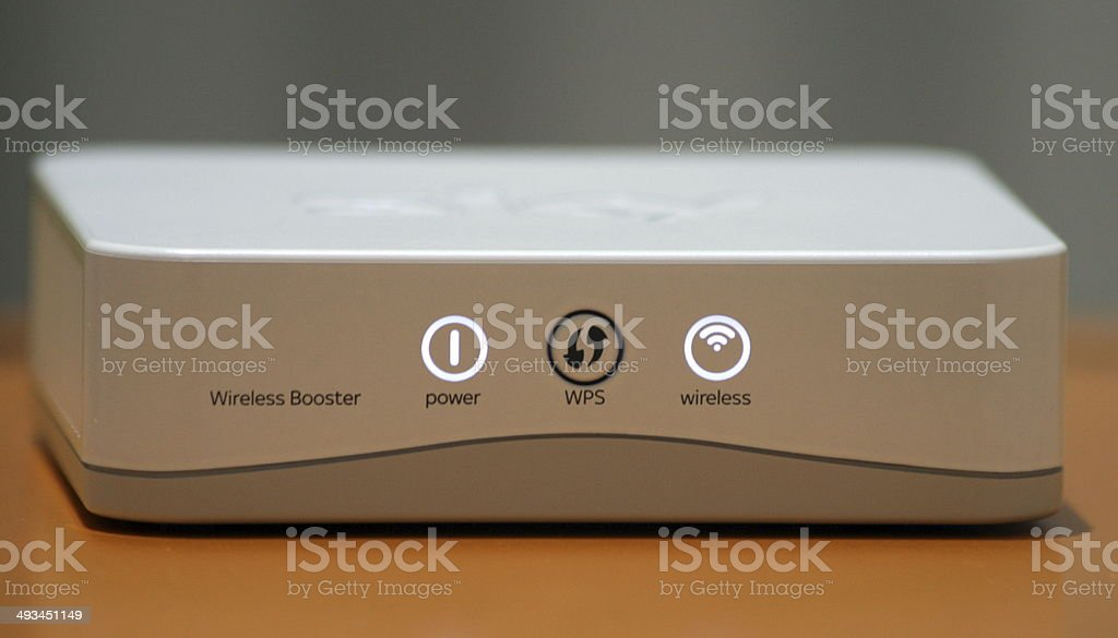 Wireless Booster that boosts WiFi broadband internet signal at home stock photo