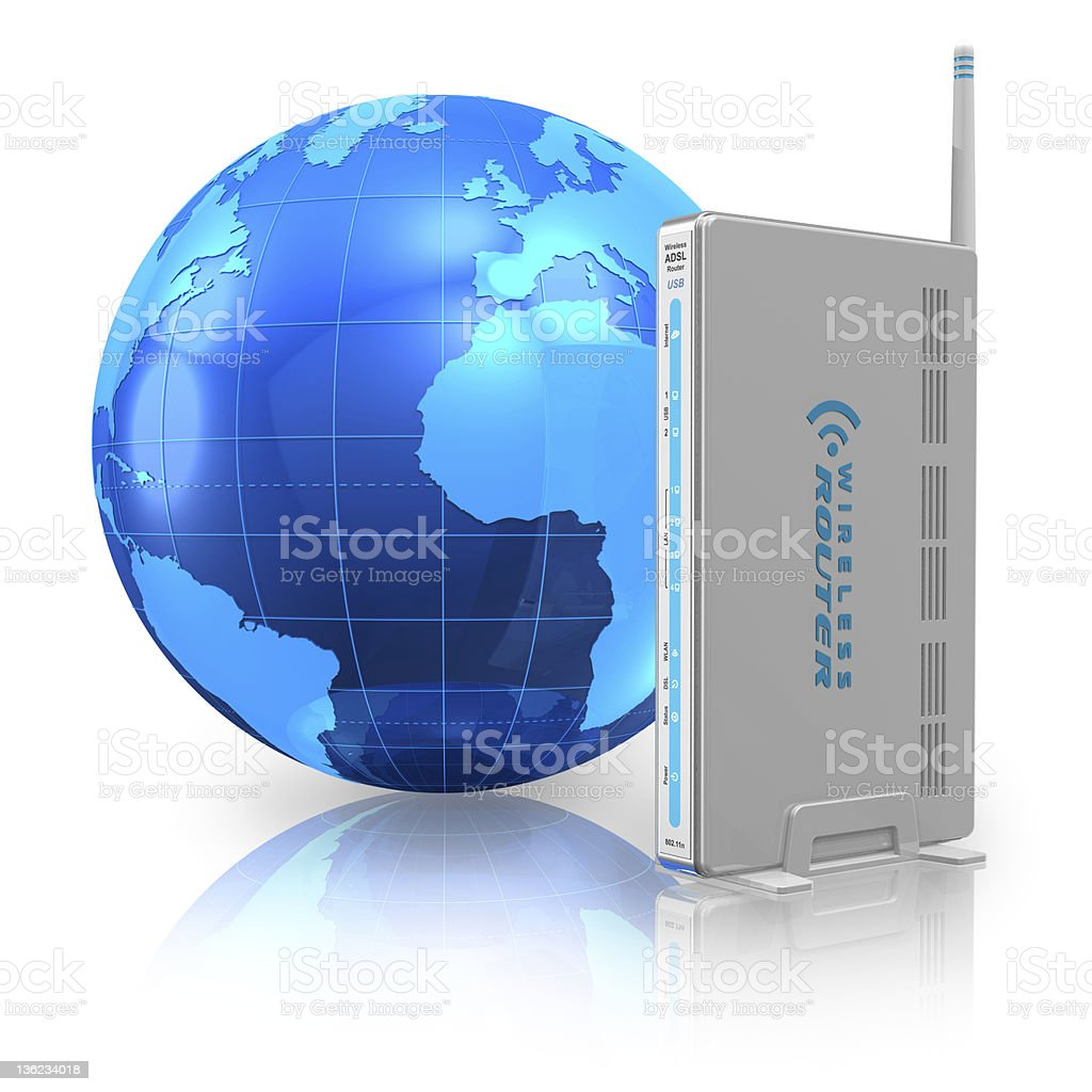 Wireless communication and internet concept stock photo