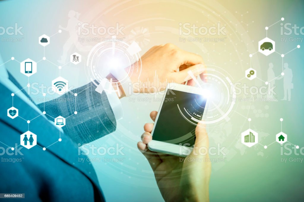 wireless communication between smart watch and smart phone, business technological abstract, internet of things stock photo