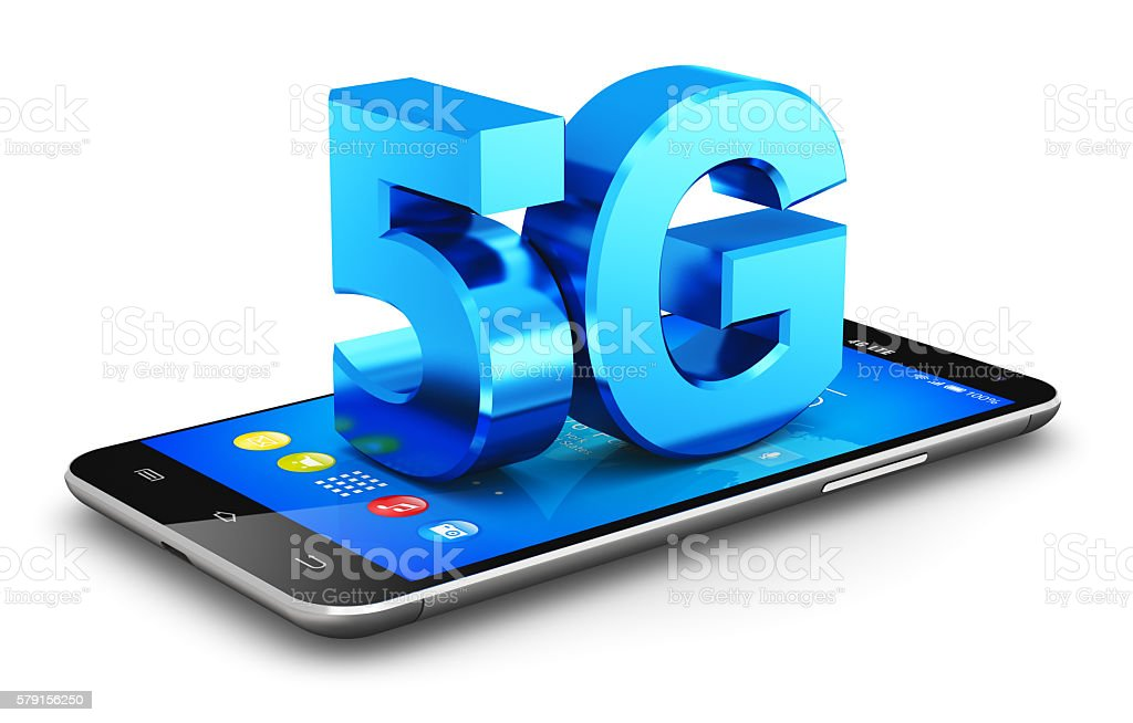 5G wireless communication technology concept stock photo