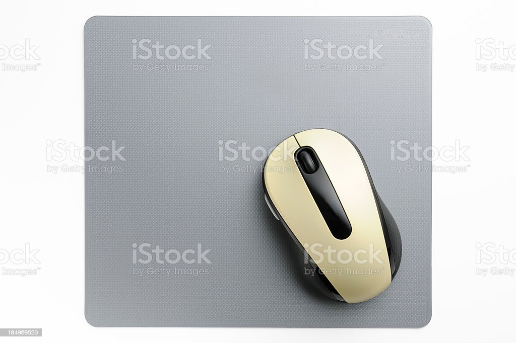 Wireless computer mouse with mouse pad on white background royalty-free stock photo