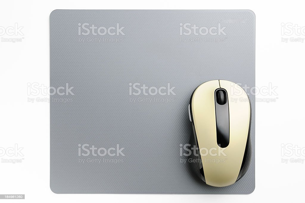 Wireless computer mouse with mouse pad on white background stock photo