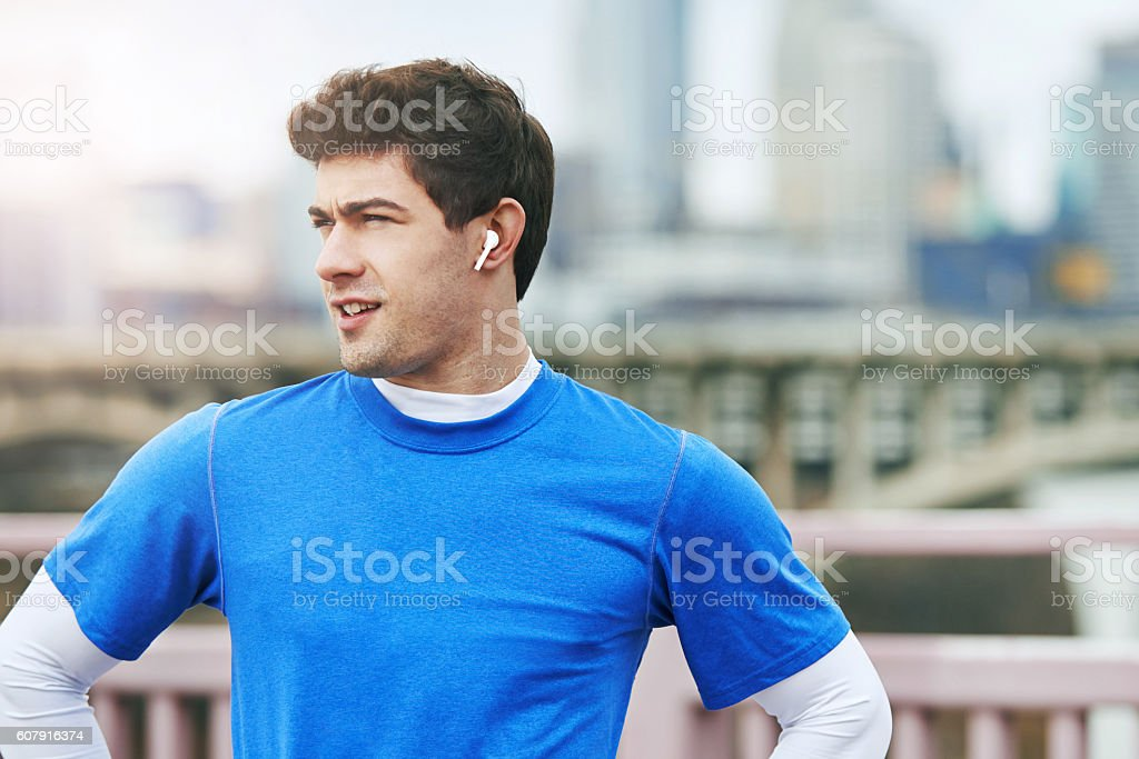 Wireless earphones - less wire, more workout stock photo