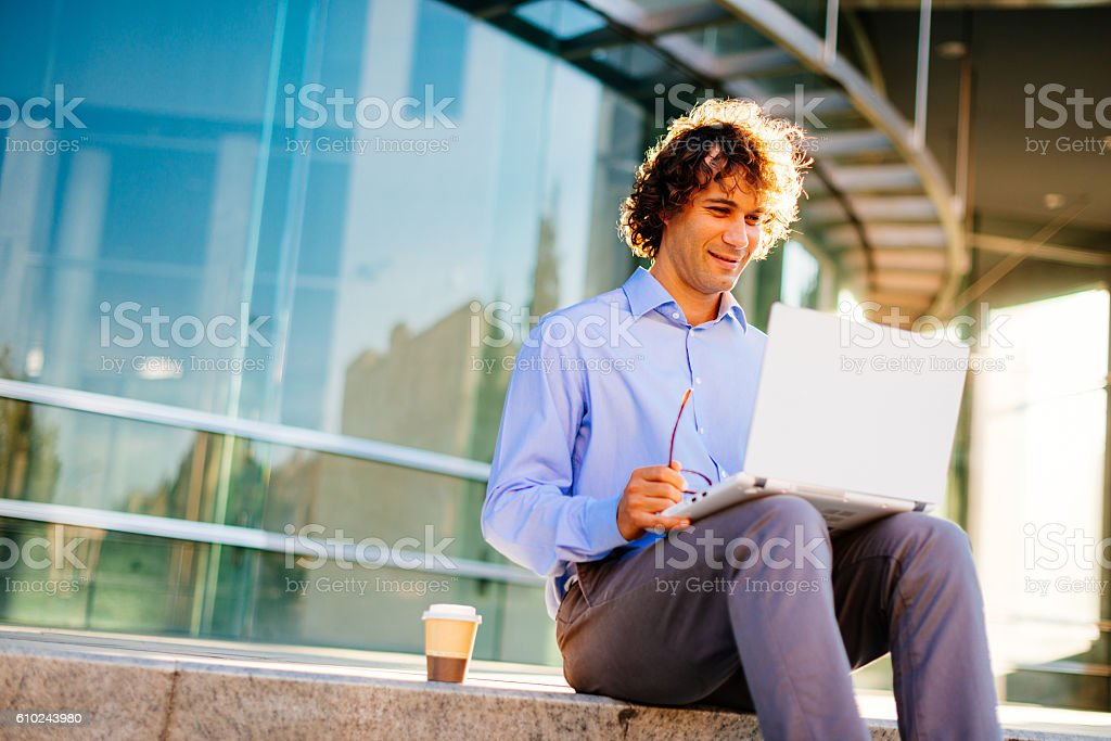 Wireless internet on public places in city stock photo