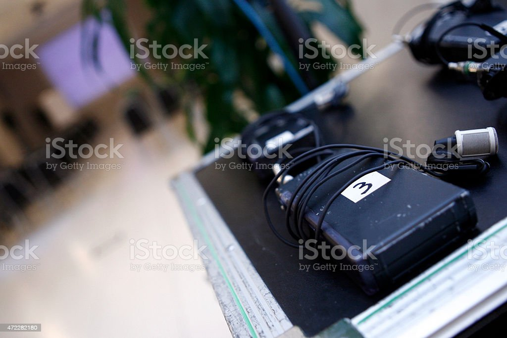 wireless microphone lavalier stock photo