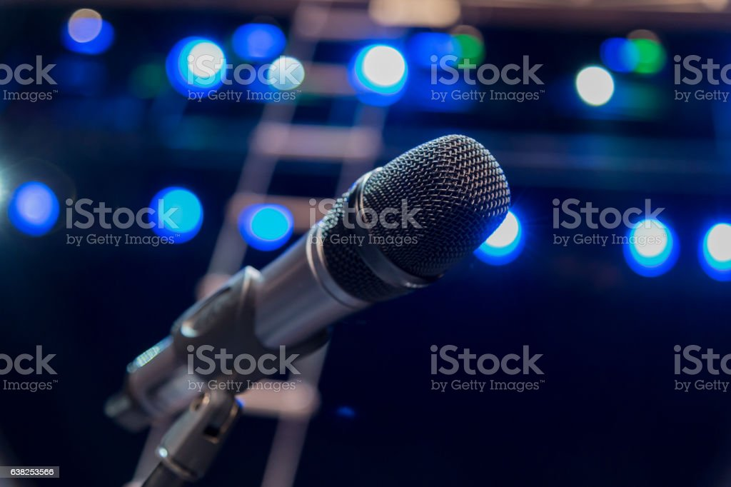 Wireless microphone on stage stock photo