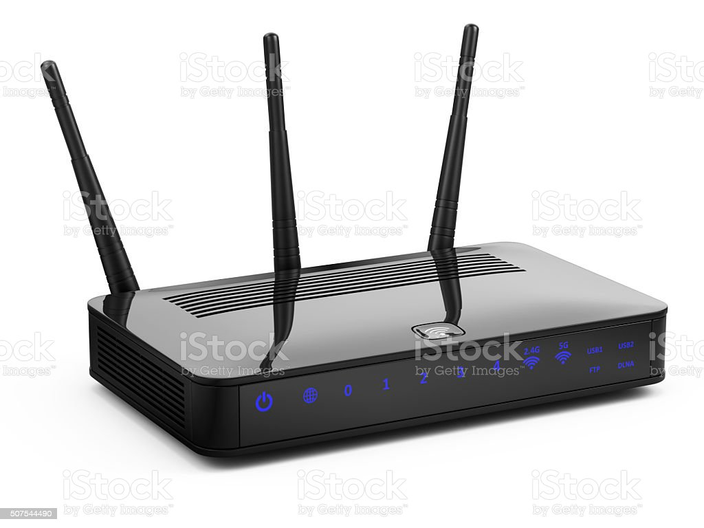 Wireless network router stock photo