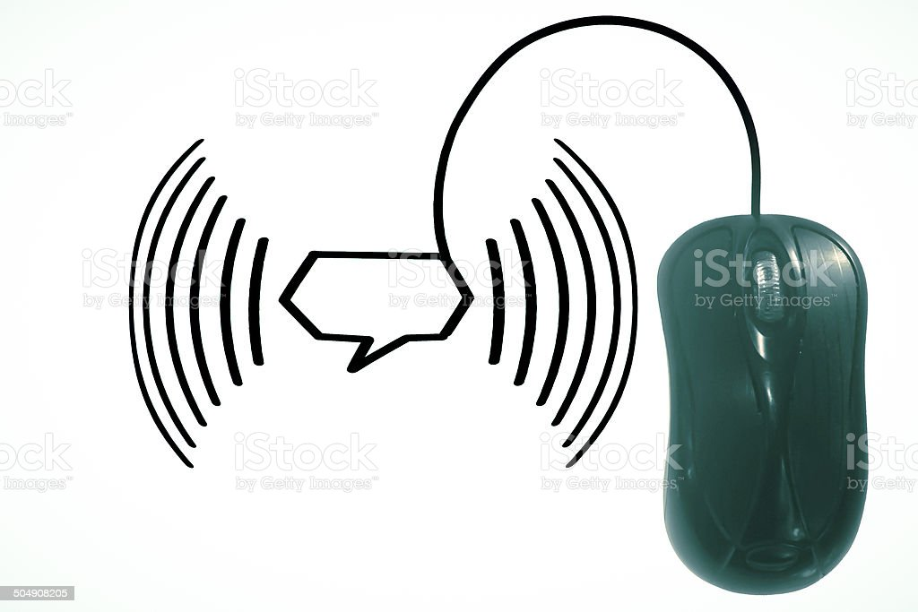 Wireless Network with computer mouse concept stock photo