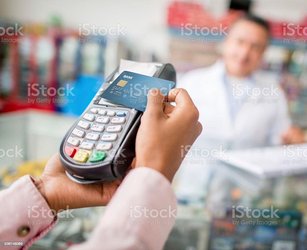 Wireless payment by card stock photo