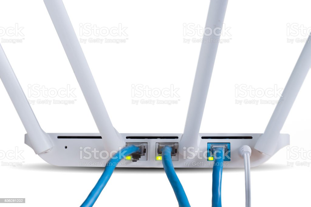 Wireless Router isolated on white background stock photo