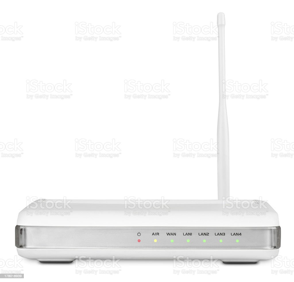 Wireless router on white with clipping path stock photo